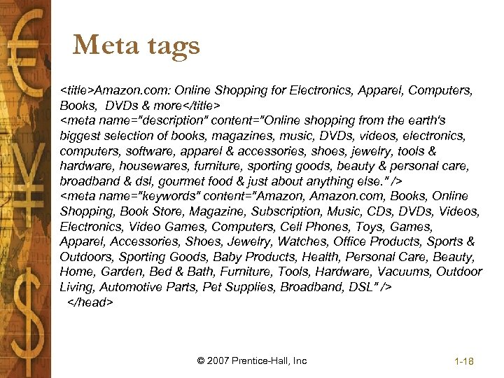 Meta tags <title>Amazon. com: Online Shopping for Electronics, Apparel, Computers, Books, DVDs & more</title>