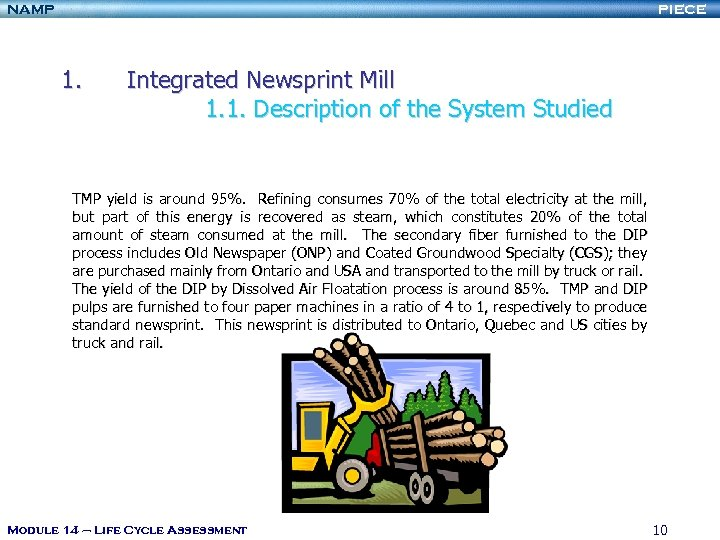 NAMP PIECE 1. Integrated Newsprint Mill 1. 1. Description of the System Studied TMP