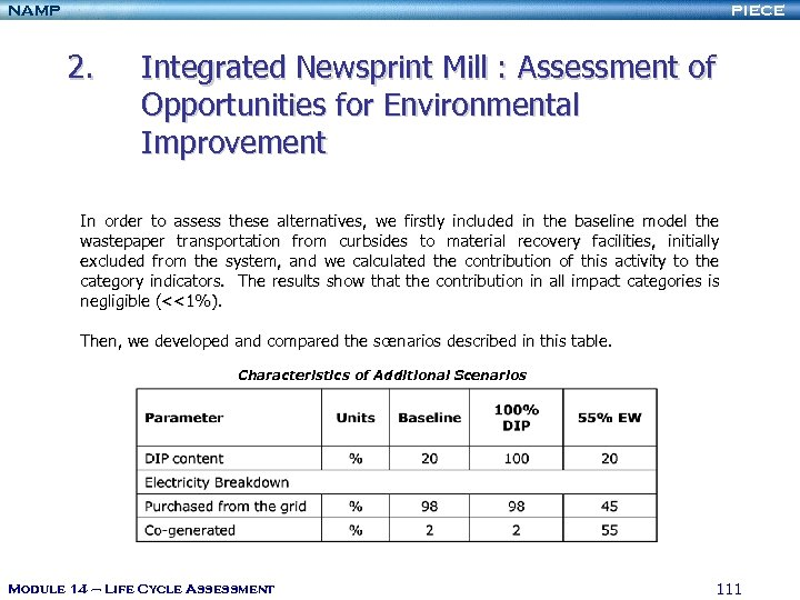 NAMP PIECE 2. Integrated Newsprint Mill : Assessment of Opportunities for Environmental Improvement In