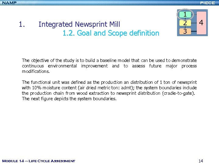 NAMP PIECE 1. Integrated Newsprint Mill 1. 2. Goal and Scope definition The objective
