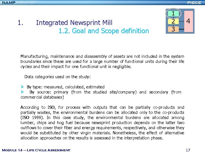 NAMP PIECE 1. Integrated Newsprint Mill 1. 2. Goal and Scope definition Manufacturing, maintenance