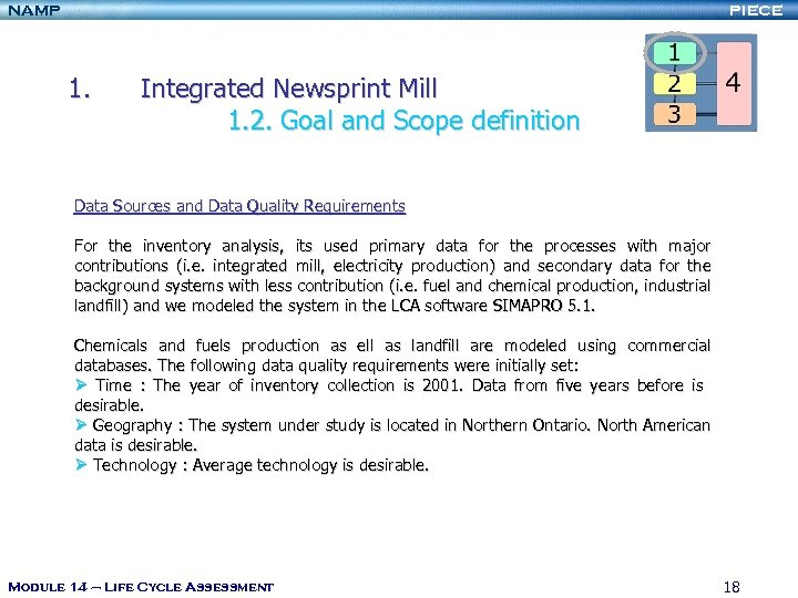 NAMP PIECE 1. Integrated Newsprint Mill 1. 2. Goal and Scope definition Data Sources