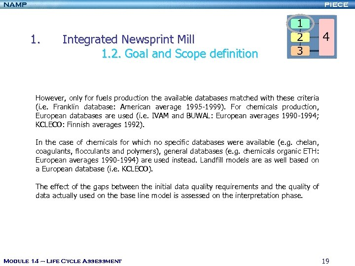 NAMP PIECE 1. Integrated Newsprint Mill 1. 2. Goal and Scope definition However, only