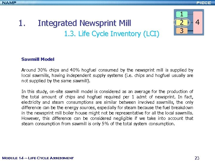 NAMP PIECE 1. Integrated Newsprint Mill 1. 3. Life Cycle Inventory (LCI) Sawmill Model