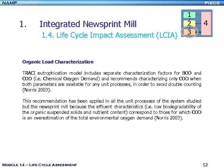 NAMP PIECE 1. Integrated Newsprint Mill 1. 4. Life Cycle Impact Assessment (LCIA) Organic