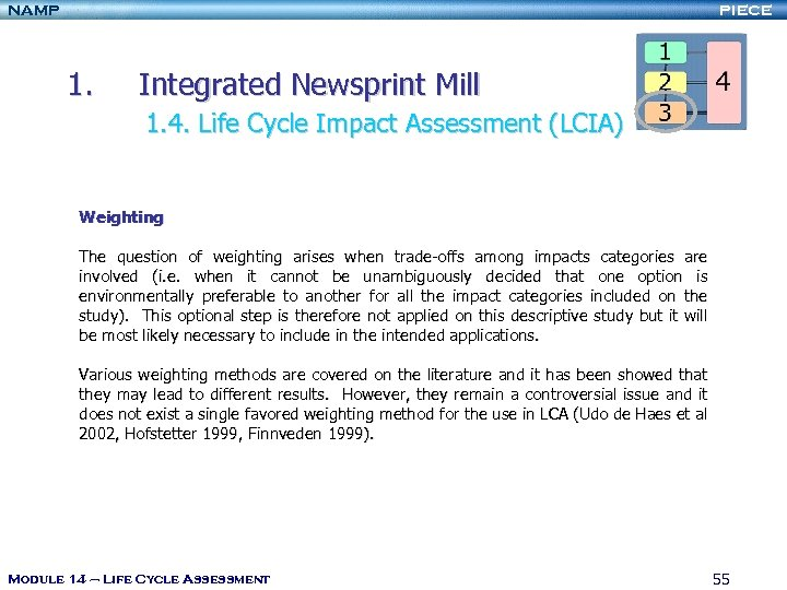 NAMP PIECE 1. Integrated Newsprint Mill 1. 4. Life Cycle Impact Assessment (LCIA) Weighting