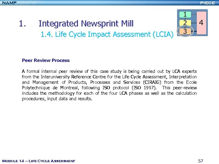 NAMP PIECE 1. Integrated Newsprint Mill 1. 4. Life Cycle Impact Assessment (LCIA) Peer