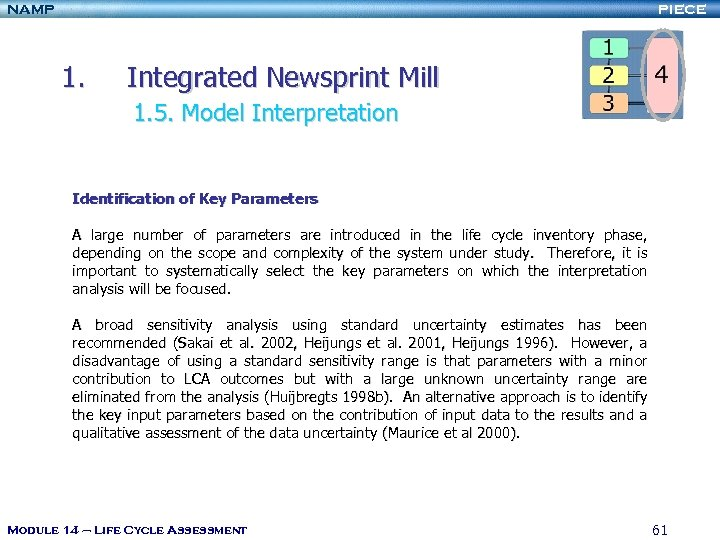 NAMP PIECE 1. Integrated Newsprint Mill 1. 5. Model Interpretation Identification of Key Parameters