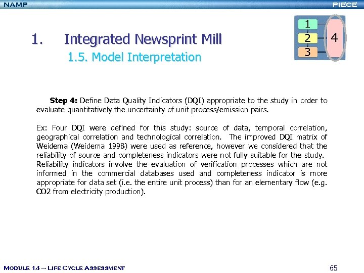 NAMP PIECE 1. Integrated Newsprint Mill 1. 5. Model Interpretation Step 4: Define Data