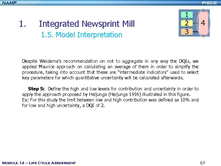 NAMP PIECE 1. Integrated Newsprint Mill 1. 5. Model Interpretation Despite Weidema's recommendation on