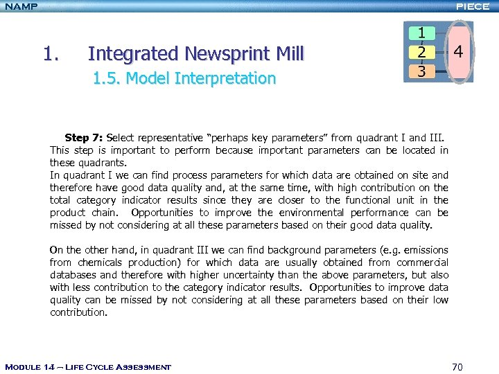 NAMP PIECE 1. Integrated Newsprint Mill 1. 5. Model Interpretation Step 7: Select representative