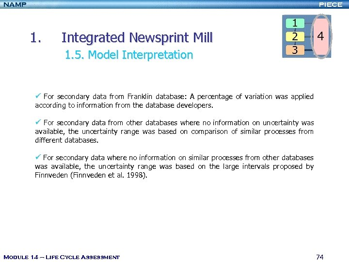 NAMP PIECE 1. Integrated Newsprint Mill 1. 5. Model Interpretation ü For secondary data