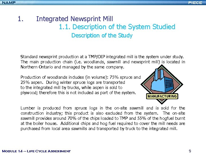 NAMP PIECE 1. Integrated Newsprint Mill 1. 1. Description of the System Studied Description