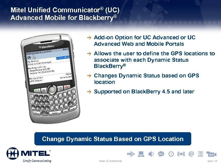 Mitel Unified Communicator® (UC) Advanced Mobile for Blackberry® à Add-on Option for UC Advanced