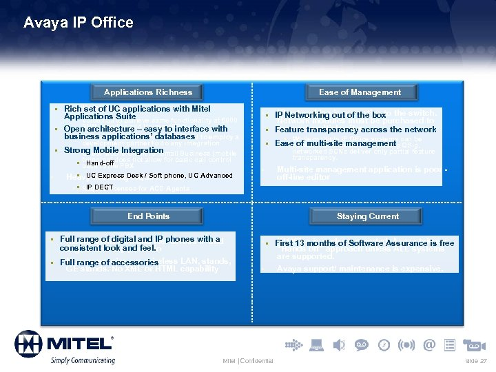 Avaya IP Office Applications Richness Ease of Management § § Rich set of UC