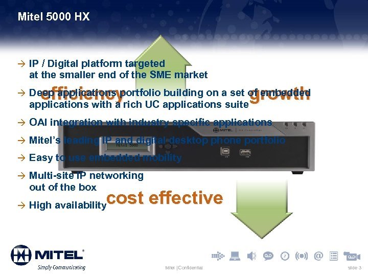 Mitel 5000 HX à IP / Digital platform targeted at the smaller end of