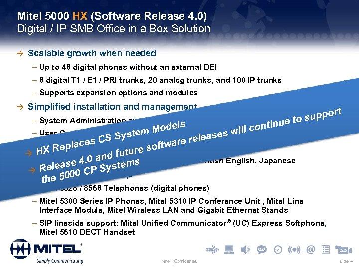 Mitel 5000 HX (Software Release 4. 0) Digital / IP SMB Office in a