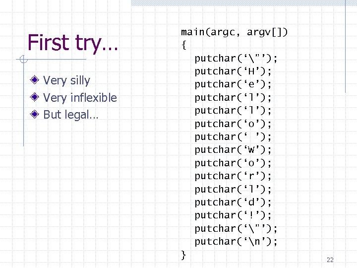 "First try… Very silly Very inflexible But legal… main(argc, argv[]) { putchar('""'); putchar('H'); putchar('e');"