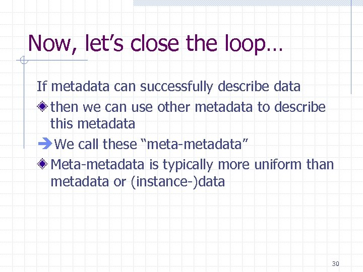 Now, let's close the loop… If metadata can successfully describe data then we can