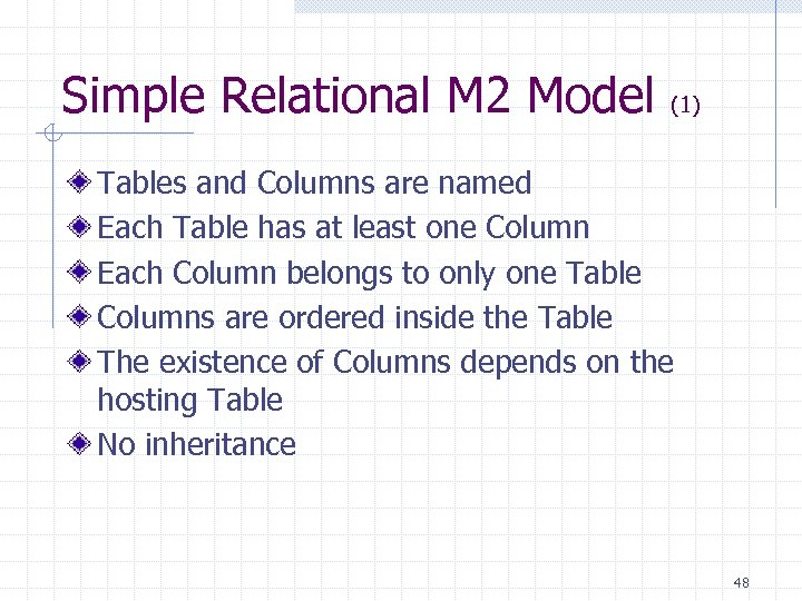 Simple Relational M 2 Model (1) Tables and Columns are named Each Table has