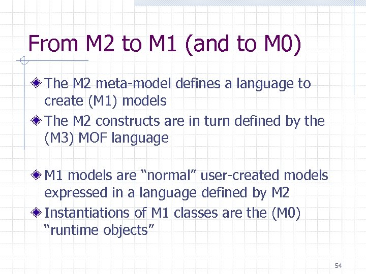 From M 2 to M 1 (and to M 0) The M 2 meta-model