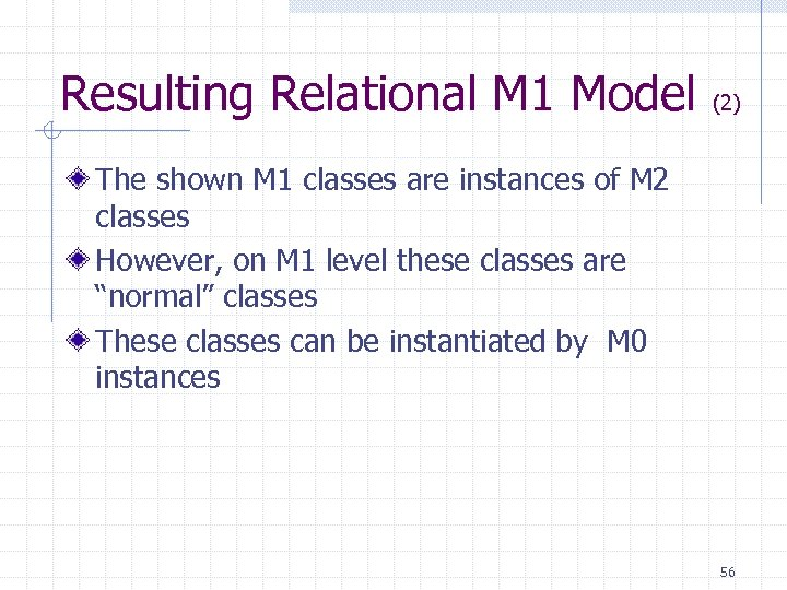 Resulting Relational M 1 Model (2) The shown M 1 classes are instances of