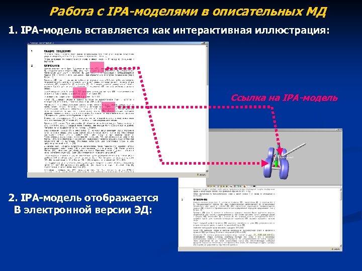 Работа с IPA-моделями в описательных МД 1. IPA-модель вставляется как интерактивная иллюстрация: Ссылка на