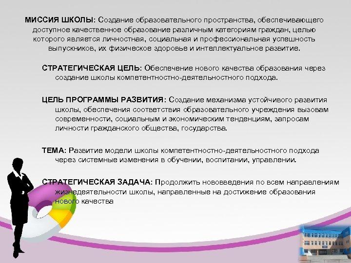 МИССИЯ ШКОЛЫ: Создание образовательного пространства, обеспечивающего доступное качественное образование различным категориям граждан, целью которого
