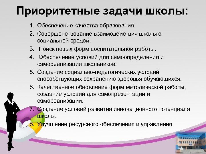 Приоритетные задачи школы: 1. Обеспечение качества образования. 2. Совершенствование взаимодействия школы с социальной средой.