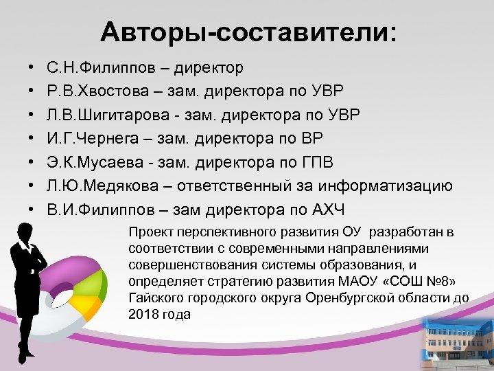 Авторы-составители: • • С. Н. Филиппов – директор Р. В. Хвостова – зам. директора