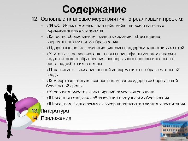 Содержание 12. Основные плановые мероприятия по реализации проекта: – «ФГОС. Идеи, подходы, план действий»