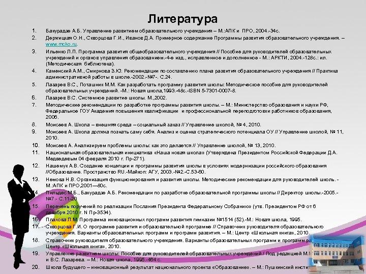 Литература 1. 2. 3. 4. 5. 6. 7. 8. 9. 10. 11. 12. 13.