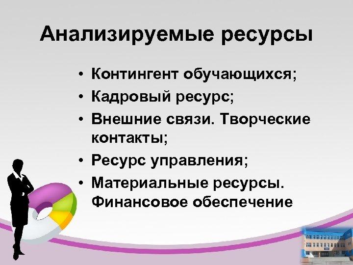 Анализируемые ресурсы • Контингент обучающихся; • Кадровый ресурс; • Внешние связи. Творческие контакты; •