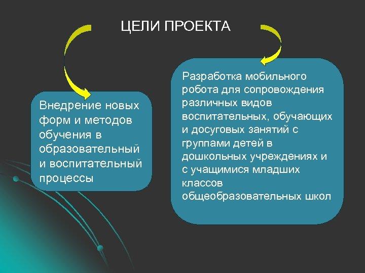 ЦЕЛИ ПРОЕКТА Внедрение новых форм и методов обучения в образовательный и воспитательный процессы Разработка