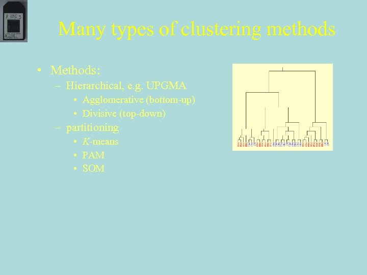 Many types of clustering methods • Methods: – Hierarchical, e. g. UPGMA • Agglomerative