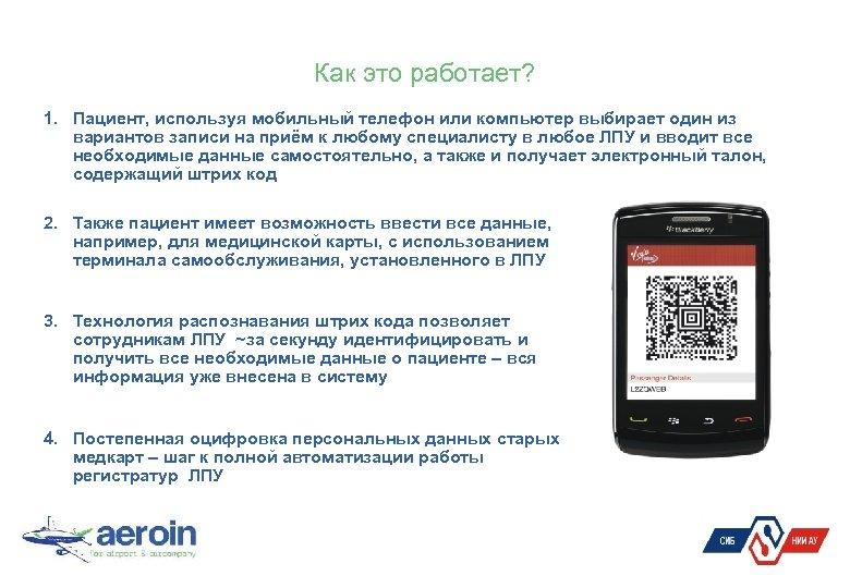 Как это работает? 1. Пациент, используя мобильный телефон или компьютер выбирает один из вариантов
