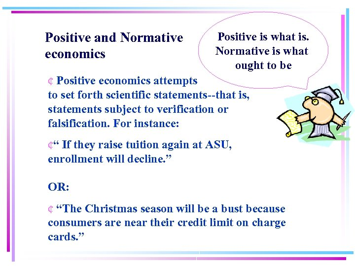 Positive and Normative economics Positive is what is. Normative is what ought to be