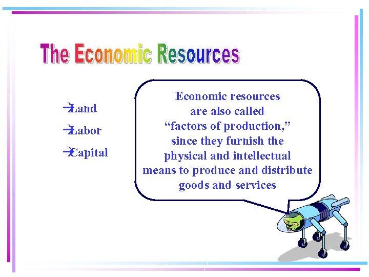 """à Land à Labor à Capital Economic resources are also called """"factors of production,"""