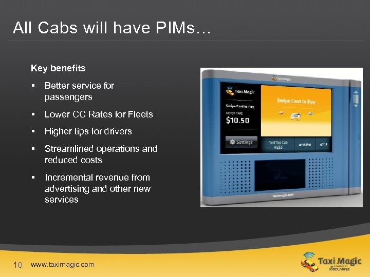 All Cabs will have PIMs… Key benefits § Better service for passengers § Lower