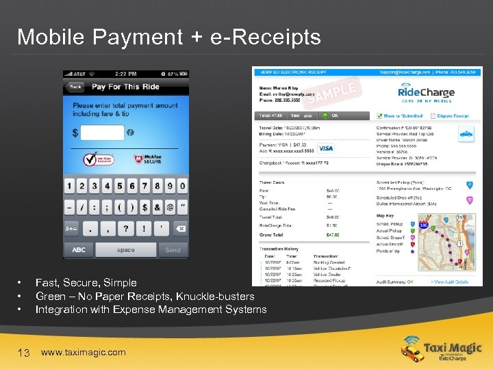 Mobile Payment + e-Receipts • • • 13 Fast, Secure, Simple Green – No