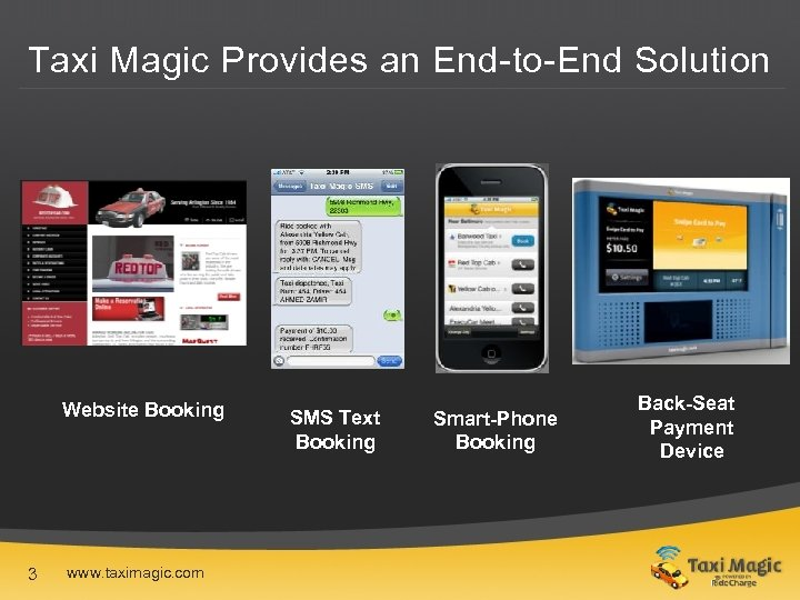 Taxi Magic Provides an End-to-End Solution Website Booking 3 www. taximagic. com SMS Text