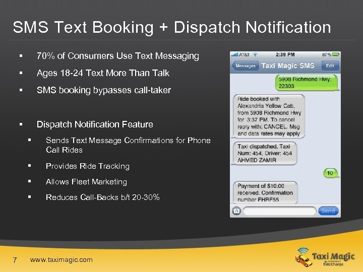 SMS Text Booking + Dispatch Notification § 70% of Consumers Use Text Messaging §