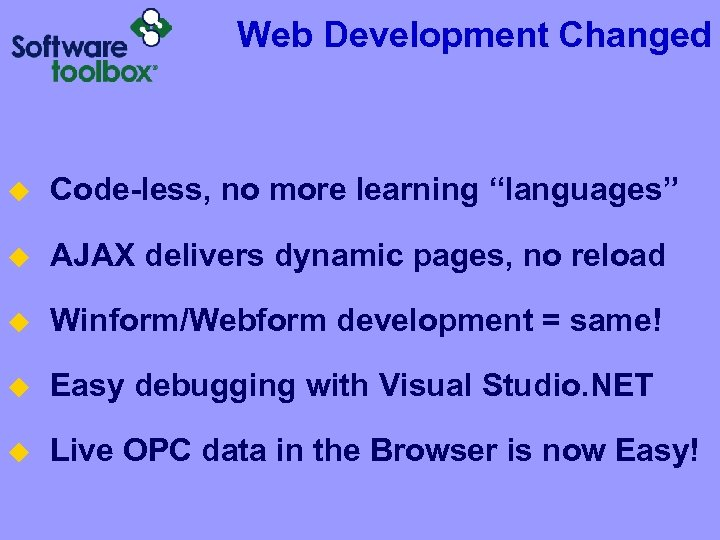 """Web Development Changed u Code-less, no more learning """"languages"""" u AJAX delivers dynamic pages,"""