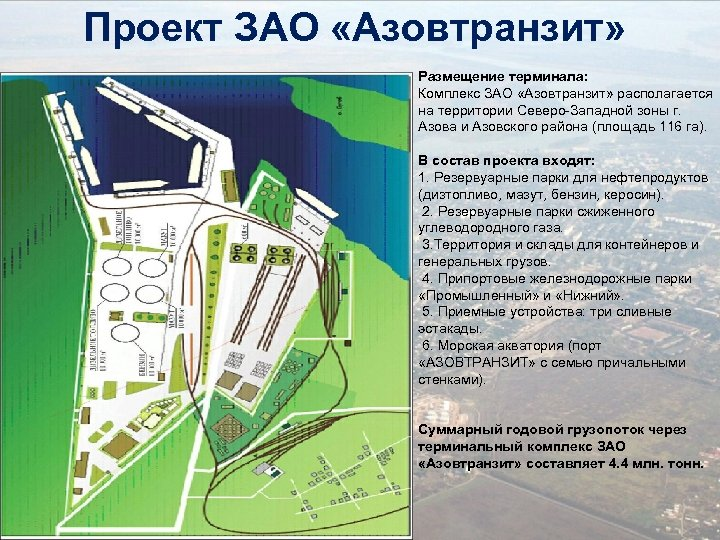 Проект ЗАО «Азовтранзит» Размещение терминала: Комплекс ЗАО «Азовтранзит» располагается на территории Северо-Западной зоны г.
