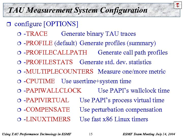 TAU Measurement System Configuration r configure [OPTIONS] ¦ ¦ ¦ ¦ ¦ -TRACE Generate