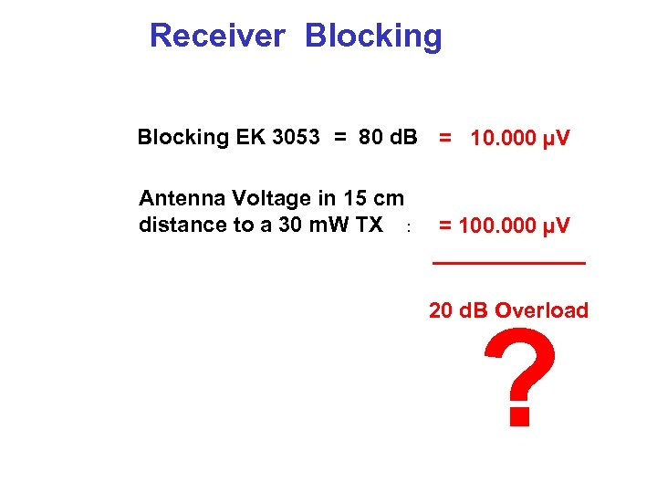 Receiver Blocking EK 3053 = 80 d. B = 10. 000 µV Antenna Voltage