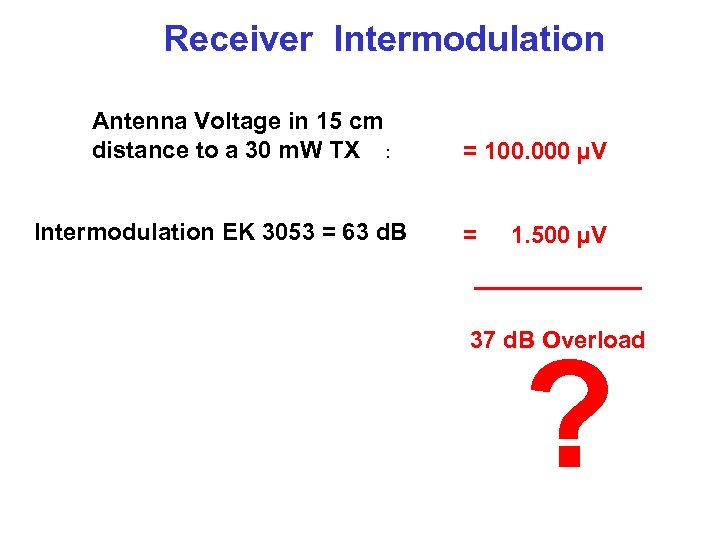 Receiver Intermodulation Antenna Voltage in 15 cm distance to a 30 m. W TX