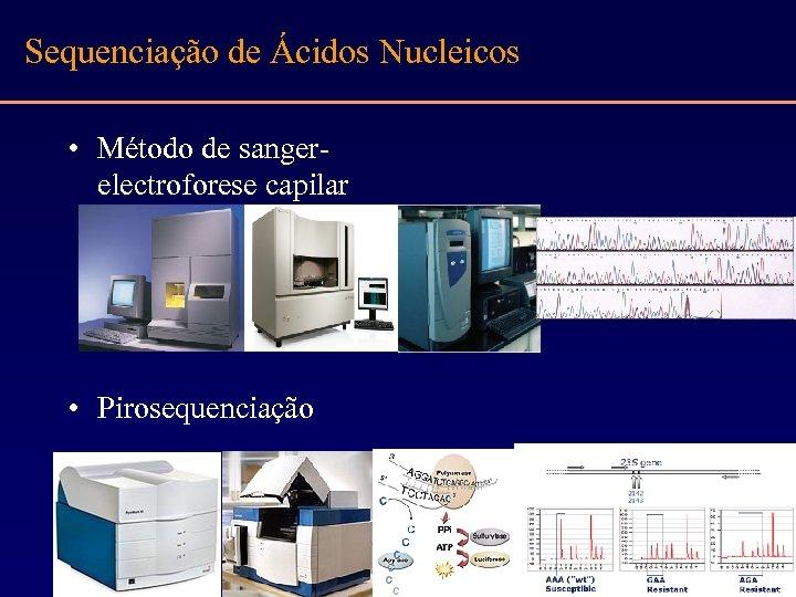 Sequenciação de Ácidos Nucleicos • Método de sangerelectroforese capilar • Pirosequenciação