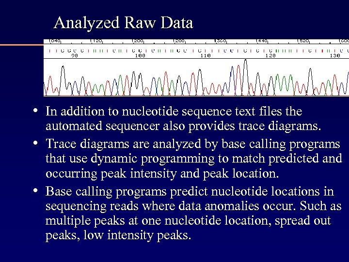 Analyzed Raw Data • In addition to nucleotide sequence text files the • •