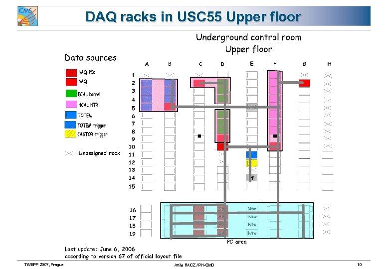 DAQ racks in USC 55 Upper floor TWEPP 2007, Prague Attila RACZ / PH-CMD